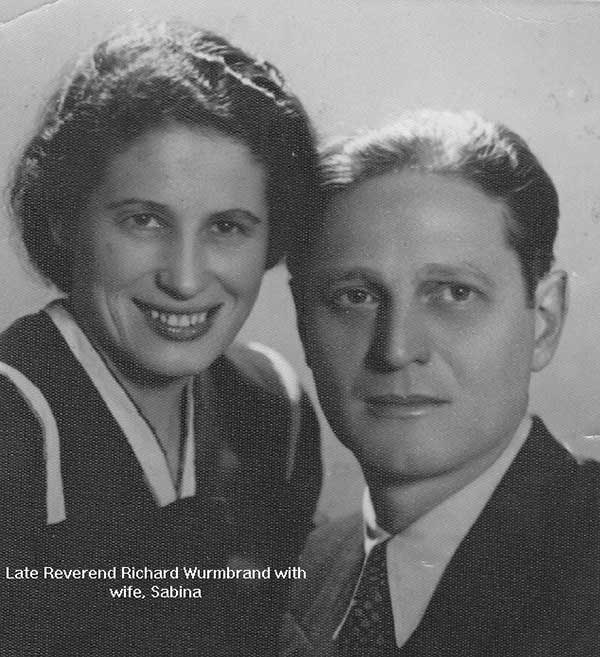 Late Reverend Richard Wurmbrand with wife, Sabina